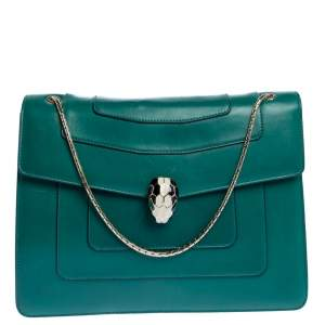 Bvlgari Green Leather Large Serpenti Forever Shoulder Bag