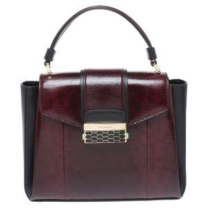 Bvlgari Burgundy/Black Leather and Karung Serpenti Viper Top Handle Bag