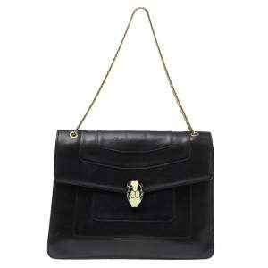 Bvlgari Black Leather Large Serpenti Forever Shoulder Bag