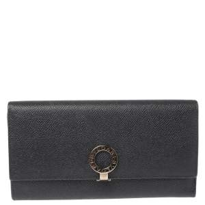 Bvlgari Black Leather Continental Wallet