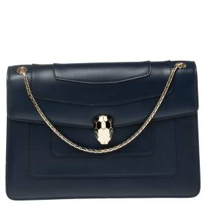 Bvlgari Navy Blue Leather Medium Serpenti Forever Flap Shoulder Bag