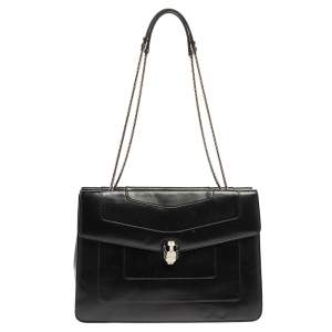 Bvlgari Black Leather  Serpenti Forever Double Flap Shoulder Bag