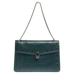 Bvlgari Green Leather Medium Studded Serpenti Forever Flap Shoulder Bag