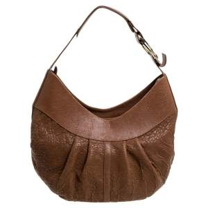 Bvlgari Brown Pleated Pebbled Leather Hobo