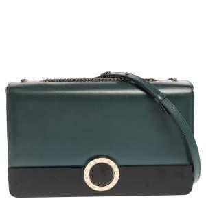 Bvlgari Teal/Black Leather and Perspex Medium Flap Cover Bag