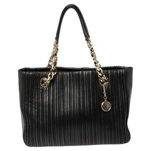 Bvlgari Black Nappa Leather Monte Plisse Shopper Tote