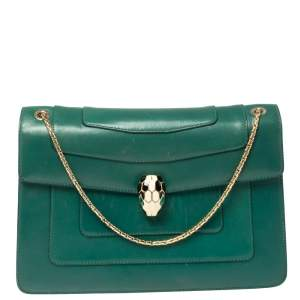 Bvlgari Green Leather Medium Serpenti Forever Flap Shoulder Bag
