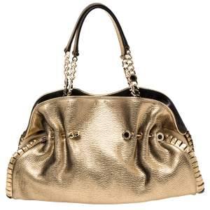 Bvlgari Metallic Gold Leather Twistino Tina Satchel