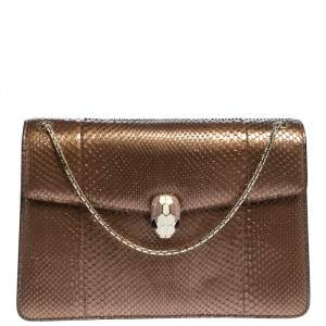 Bvlgari Bronze Python Medium Serpenti Forever Flap Shoulder Bag