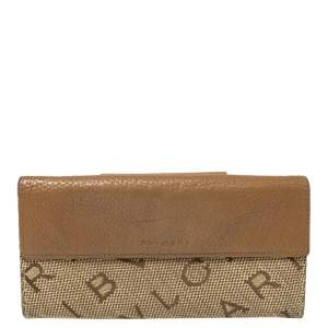 Bvlgari Brown/Beige Mania Canvas and Leather Double Flap Continental Wallet