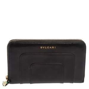 محفظة بلغاري سيربينتي فوريفر سحاب ملتف جلد أسود