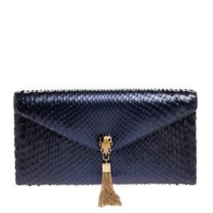 Bvlgari Ombre Midnight Blue Python Serpenti Cocktail Clutch