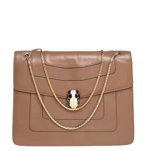 Bvlgari Brown Leather Large Serpenti Forever Shoulder Bag