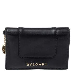 Bvlgari Black Leather Serpenti Forever Bifold Card Holder
