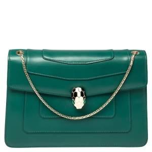Bvlgari Green Leather Medium Serpenti Forever Flap Shoulder Bag