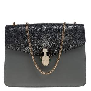 Bvlgari Grey Stingray and Leather Serpenti Forever Shoulder Bag