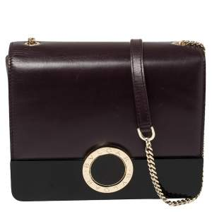 Bvlgari Plum/Black Leather and Perspex Small Flap Cover Shoulder Bag