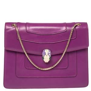 Bvlgari Purple Leather Large Serpenti Forever Shoulder Bag