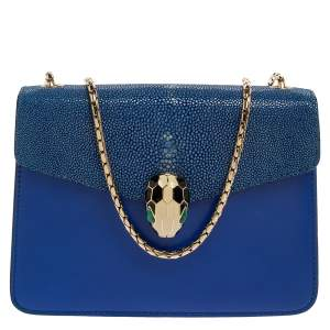 Bvlgari Blue Stingray and Leather Serpenti Forever Shoulder Bag