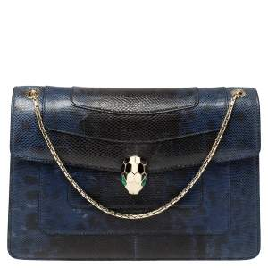 Bvlgari Blue Karung Medium Serpenti Forever Flap Shoulder Bag