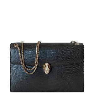 Bvlgari Black LIzard Leather Serpenti Forever Bag