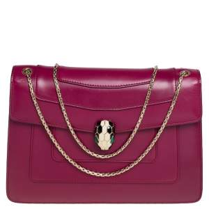 Bvlgari Purple Leather Medium Serpenti Forever Flap Shoulder Bag