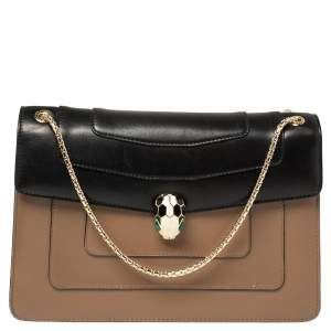 Bvlgari Tan/Black Leather Medium Serpenti Forever Flap Shoulder Bag