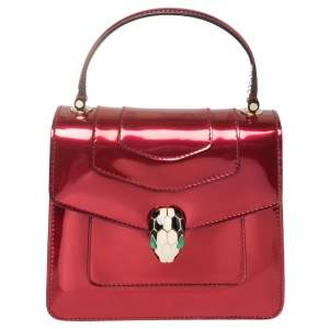 Bvlgari Red Metallic Leather Serpenti Forever Flap Top Handle Bag