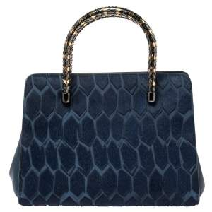 Bvlgari Blue Leather and Calf Hair Serpenti Scaglie Tote