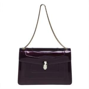 Bvlgari Purple Patent Leather Medium Serpenti Forever Shoulder Bag