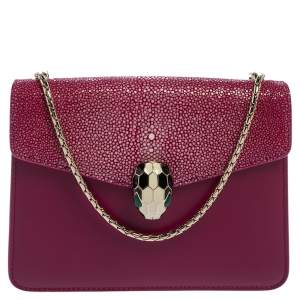 Bvlgari Fuchsia Stingray and Leather Small Serpenti Forever Shoulder Bag
