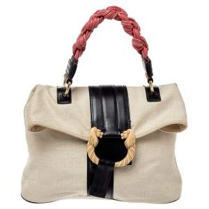 Bvlgari Multicolor Canvas And Leather Leoni Top Handle Bag