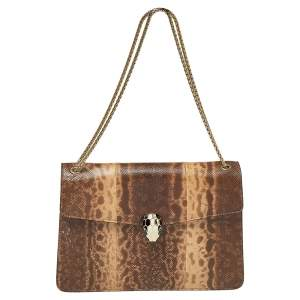 Bvlgari Beige Karung Medium Serpenti Forever Flap Shoulder Bag