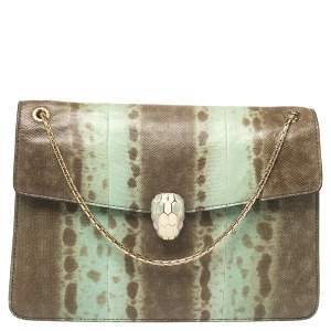 Bvlgari Green Karung Medium Serpenti Forever Shoulder Bag