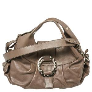 Bvlgari Dark Beige Leather Chandra Hobo