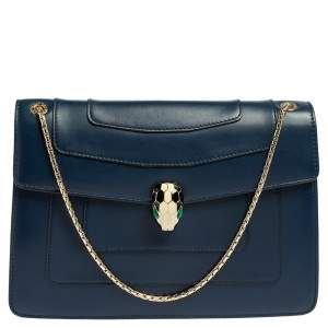 Bvlgari Blue Leather Medium Serpenti Forever Flap Shoulder Bag