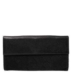 Bvlgari Black Logo Mania Canvas and Leather Flap Continental Wallet