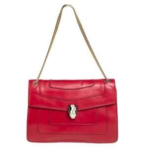 حقيبة كتف بلغاري سيربينتي  فوريفر متوسطة جلد أحمر