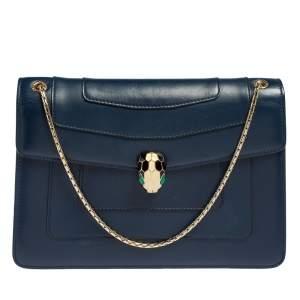حقيبة كتف بلغاري سيربينتي فوريفر متوسطة جلد أزرق بقلاب