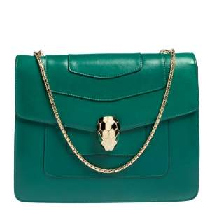 Bvlgari Green Leather Single Gussets Medium Serpenti Forever Crossbody Bag
