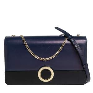 Bvlgari Blue/Black Leather and Perspex Medium Flap Crossbody Bag