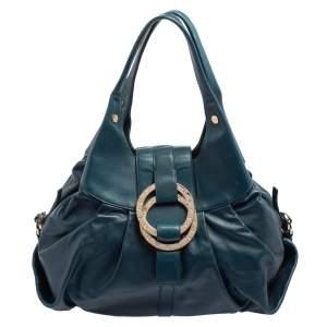 Bvlgari Teal Leather Chandra Hobo