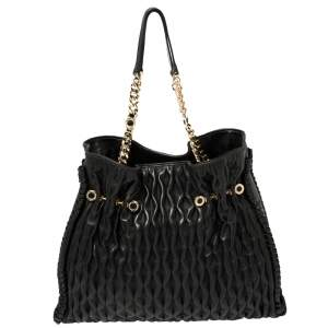 Bvlgari Black Leather Pleated Twit Tote