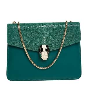 Bvlgari Green Stingray and Leather Serpenti Forever Shoulder Bag