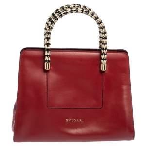 حقيبة يد بلغاري سربنتي سكاغلي صغيرة جلد وجلد ثعبان أحمر داكن