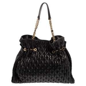 Bvlgari Black Matelassé Leather Twistino Tina Tote