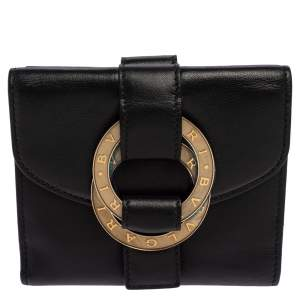 Bvlgari Black Leather Double Ring Compact Wallet