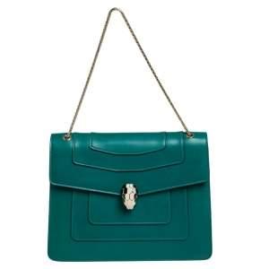 حقيبة كتف بلغاري فوريفر سيربينتي جلد خضراء كبيرة