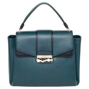 Bvlgari Green/Black Leather Medium Serpenti Viper Top Handle Bag