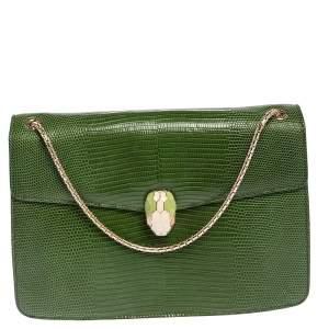 حقيبة كتف بلغاري سيربنتي فوريفر جلد سحلية أخضر متوسطة